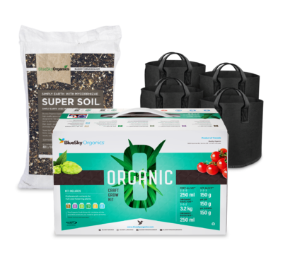 BlueSky Organics Products in Christmas Bundle including a bag of supersoil, four grow bags, and an organic craft grow kit
