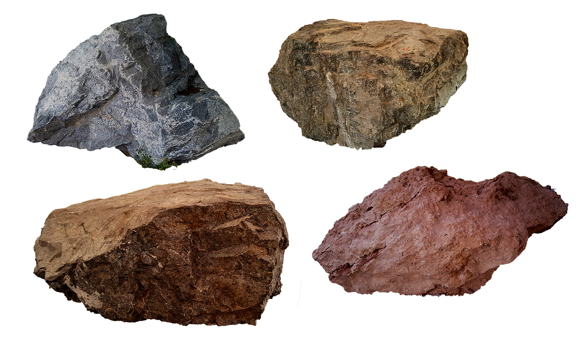 four different types of rocks, highlighting the importance of parent rock material in determining soil pH for cannabis growers