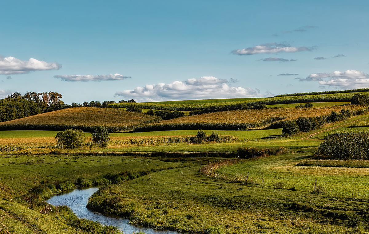 River winding through agricultural lands, highlighting nutrients leaching in soil