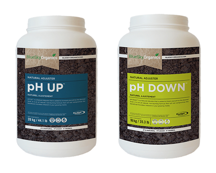 BlueSky Organics products pH UP and pH down, used for managing pH for cannabis growers