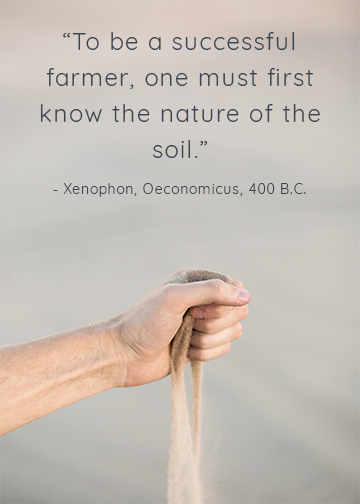 A hand pouring sand with a quote saying that to be a successful farmer, one must first know the nature of the soil
