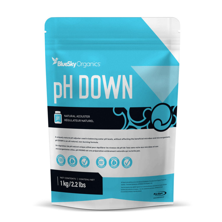BlueSky Organics pH Down in Packaging in a large size 1kg blue bag