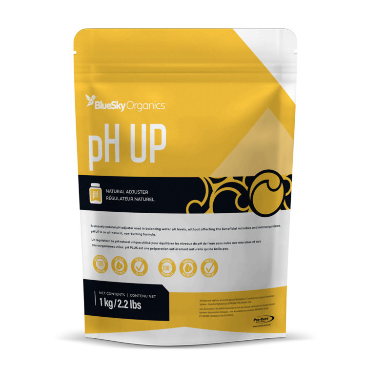 BlueSky Organics pH Up in Packaging in a large size 1kg yellow bag