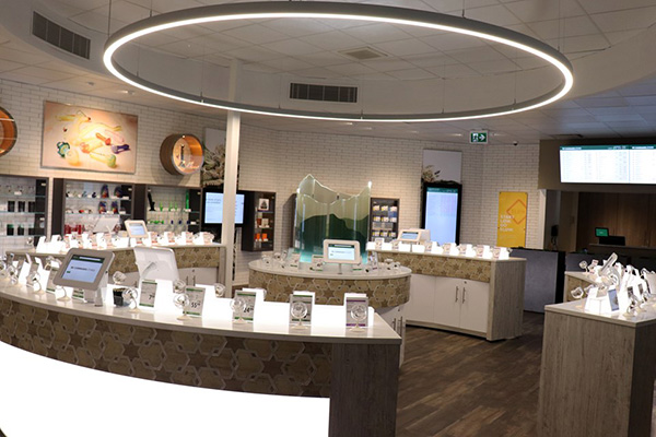 The First B.C. Cannabis Store in Kamloops, photo by Eric Thompson' interior showing modern displays and interior