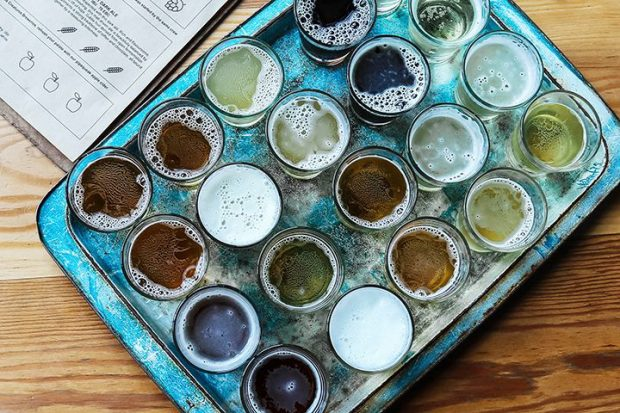 craft beer samples on a tray, highlighting that the craft cannabis market through micro-licenses is similar to the craft beer market
