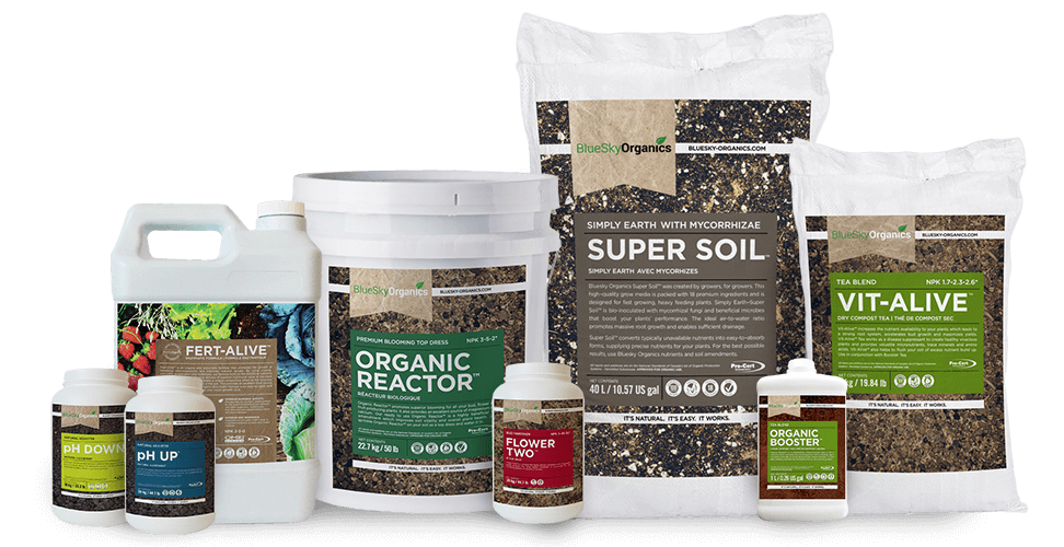 a collection of BlueSky Organics product images including the super soil organic reactor and other soil amendments