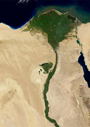 an aerial view of Egypt and the fertile regions around the Nile River