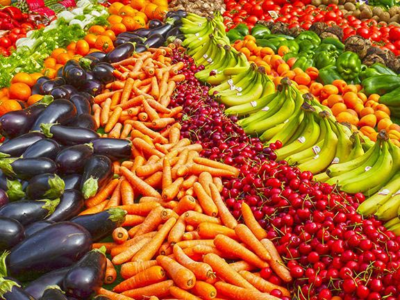 conventional growing practices are leaving glyphosate in our produce, like the colourful fruits and veggies shown here