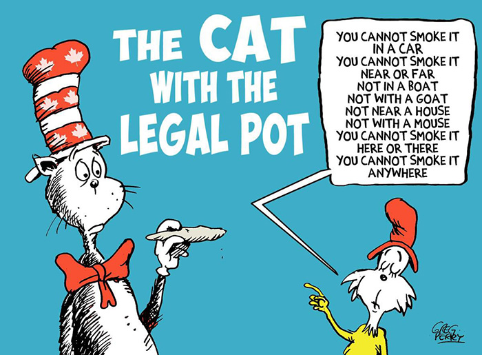 Legal Recreational Cannabis Illustration by Greg Perry from the Toronto Star of Dr Seuss' Cat in the Hat instead called The Cat with the Legal Pot