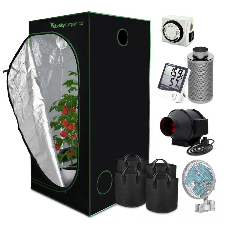 BlueSky Organics Grow Kit with supplies in a collage style, such as a fan and grow bags